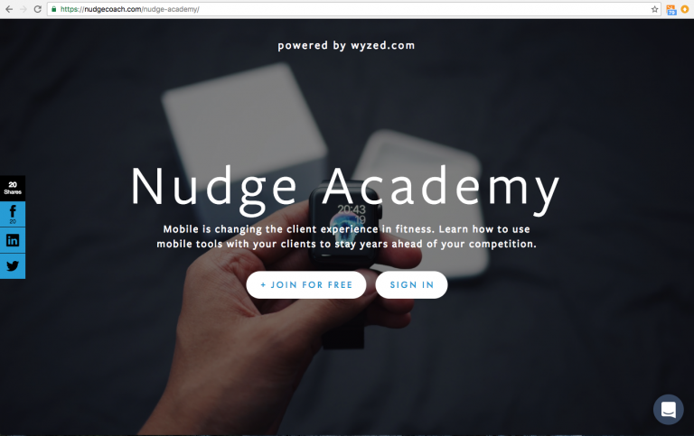 The eElearning Sign Up Page for Nudge Academy