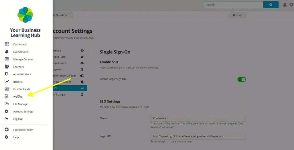 Create profile tab inside Wyzed LMS