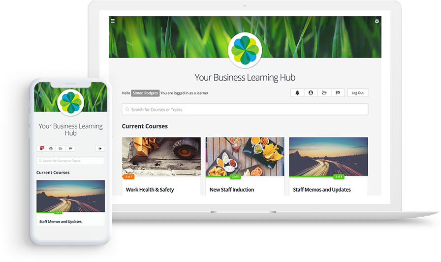 A modern LMS where users can access online courses on desktop, ipad, and mobile devices.